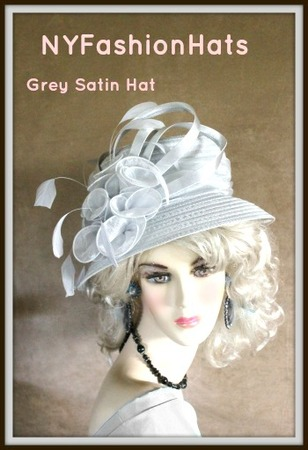 Silver Grey Bridal Wedding Church Designer Hat Ladies Formal Hats 7V