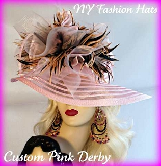 Pink Brown Wide Brim Designer Hat Ladies Fashion Dress Hats 7KET