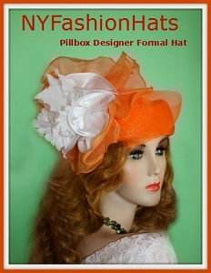 Orange White Designer Fashion Pillbox Wedding Hat, Woman's Dress Hats
