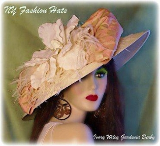 Ivory Salmon Pink Dressy Church Designer Hat Ladies Fashion Hats 3K