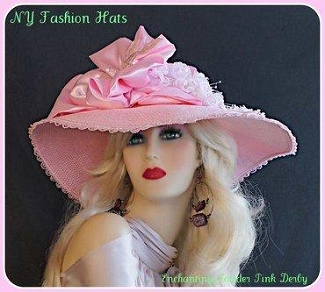 Pink Wide Brimmed Sequin Satin Bow Flowers Designer Hat For Women 9Q