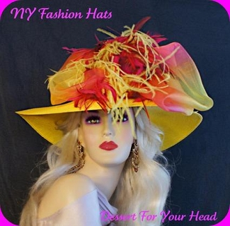 Lemon Yellow Wide Brim Formal Church Hat Ladies Designer Hats 8GQZ