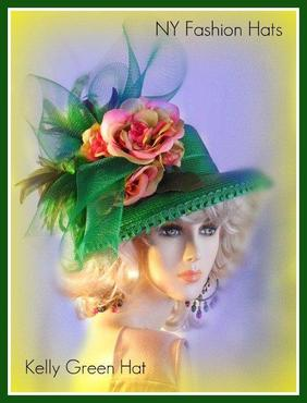 Kelly Lime Green Pink Designer Hat Women's Fashion Church Hats 3QES