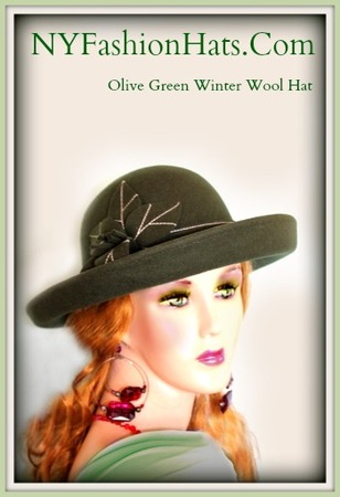 Olive Green Brown Burgundy Felt Women's Designer Winter Hat 7MZB