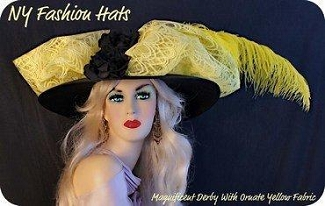 Women's Black Yellow Designer Kentucky Derby Hat, NY Fashion Hats