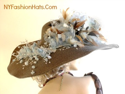 Taupe Brown Baby Blue Beige Tan Designer Wide Brim Ladies Hat 9QVR
