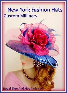Royal Blue Hot Pink Sequin Hat With Flowers Ladies Dress Hats 3V