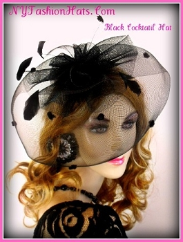 Women's Black Cocktail Hat, Wedding Fascinator, NY Fashion Hats