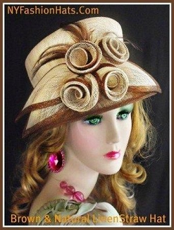 Brown And Natural Straw Designer Fashion Hat Ladies Church Hats 2UN