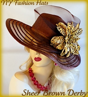 Ladies Brown Wide Brim Fashion Hat Gold Brown Leopard Flower Tea Hats