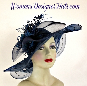Hats Kentucky Derby Horse Racing Navy Blue, Women's Designer Hats PT2