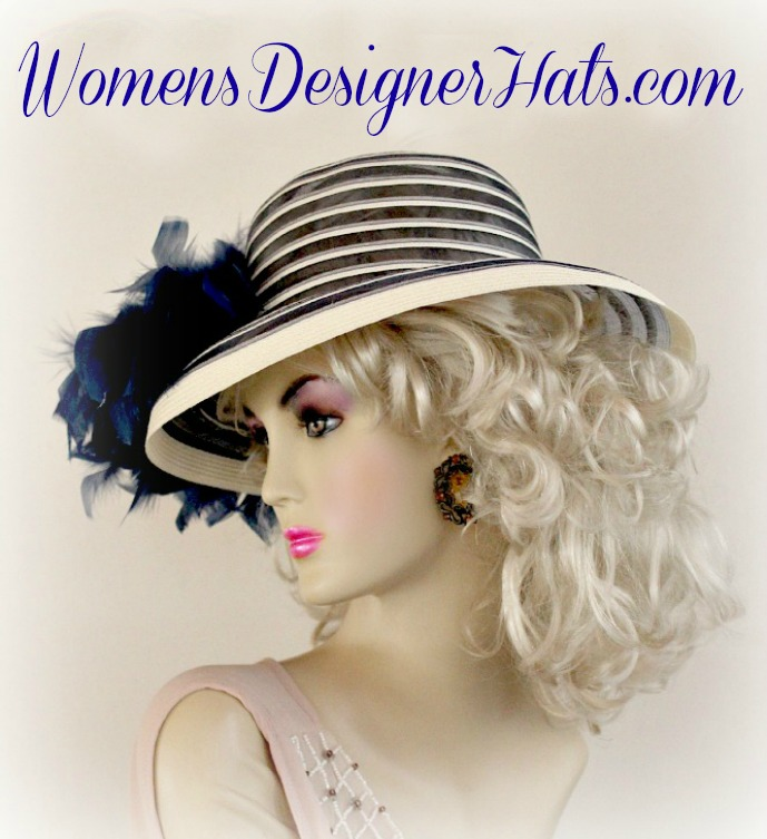 12d3998472495 Ladies Sheer Navy Blue And Ivory Brim Dress Hat For Weddings And The  Kentucky Derby With Feathers. This Fashion Hat Can Be Customized.