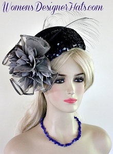 Ladies Navy Blue Silver Grey Pillbox Cocktail Hat Flapper Wedding Hats A30