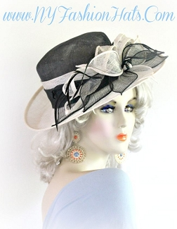 Ladies Black Ivory Sinamay Straw Designer Hat Spring Fashion Hat 4YVB