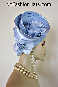 Hat Satin Pastel Baby Blue Pillbox Velvet Flower Shaped Women's Designer Hats