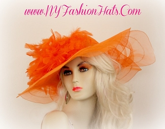 Ladies Orange Wide Brim Kentucky Derby Hat With Feathers 334N7 Hats
