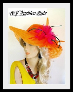 Orange Wide Brim Designer Dress Church Hat For Women 7GBQ