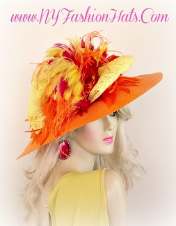 Ladies Orange Yellow Hot Pink Designer Fashion Hat Formal Hats 3YZE