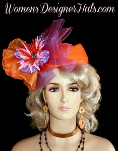Hat Ladies Orange Special Occasion Pillbox Purple Lavender Headpiece Hats