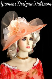 Hat Ladies Peach White Wide Brim Kentucky Derby Women's Designer Hats