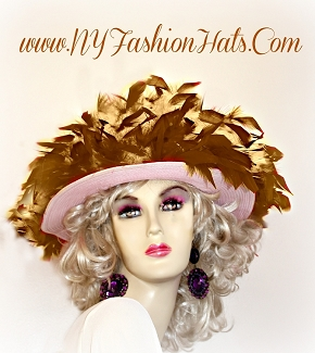 Pink Ladies Hat With Yellow And Brown Feathers Kentucky Derby Hats 45