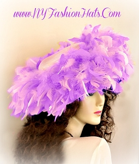 Ladies Pink Or Red Designer Small Brim Hat With Custom Feathers U5X