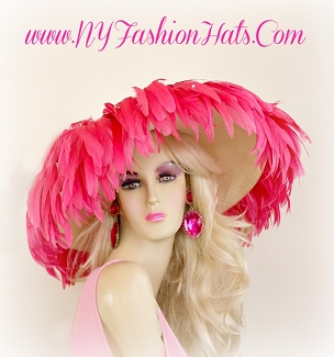 Ivory Hot Pink Wide Brim Designer Dress Hat Ladies Fashion Hats 3YHK