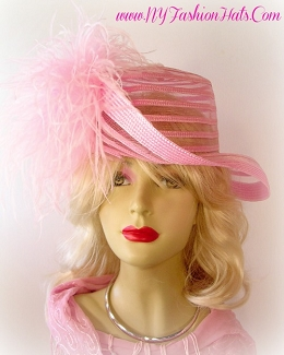 Ladies Designer Church Hat Black Ivory White Pink Orange Hats RT08
