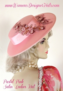Hat Pink Satin Dress Church Formal Bridal, Designer Hats Weddings Womens