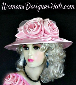 Pink Satin Hat Brown Black Champagne Beige White Designer Dress Hats