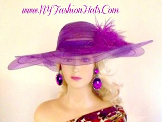 Purple Wide Brim Designer Dressy Church Ladies Hat Custom Hats GHT