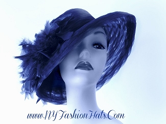 Navy Blue Purple Red Pink Brown Black Ivory White Ladies Dress Hat Tr