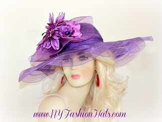 Purple Wide Brim Designer Fashion Church Hat Ladies Tea Hats W4ER