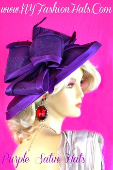 Ladies Purple Fashion Satin Dress Hat Designer Winter Spring Fall Hats