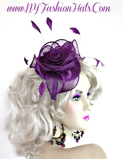 Ladies Purple Straw Cocktail Hat Satin Headband Bridal Wedding JVB4