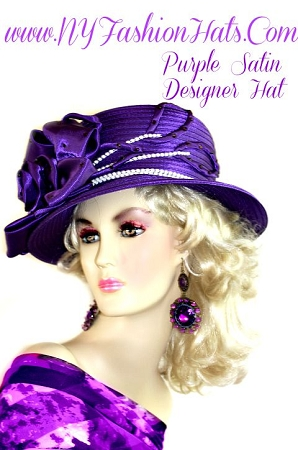 Ladies Purple Satin Dress Wedding Formal Hat Designer Fashion Hats