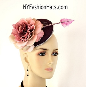 Eggplant Purple Lavender Mauve Pink Sinamay Straw Flower Rhinestone Wedding Bridal Fascinator Cocktail Hat