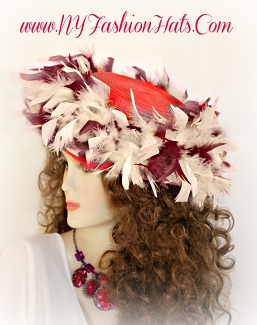 Women's Red Designer Hat With Brown And Ivory Feathers Tea Hats Y6b