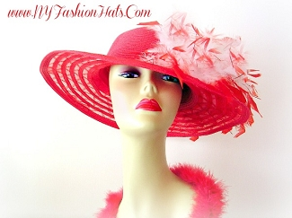 Ladies Ivory Pink Red Fashion Designer Fashion Hat Dress Hats U78