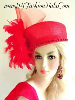 Woman Red Fashion Designer Dressy Formal Hat Ladies Pillbox Hats 4NZ