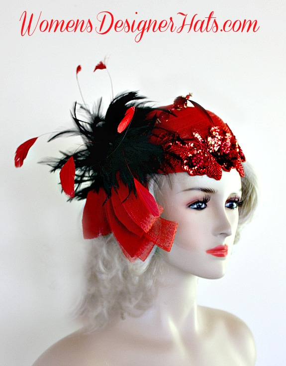 73e1c2beadf40 Red Sequin Beaded Pillbox Cocktail Hat For Women With Black And Red  Feathers. Hand Made 1920 s Flapper Era Designer Fashion Hat.