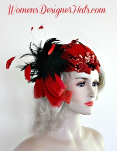 Ladies Red Black Cocktail Hat Pillbox Wedding Fascinator Designer Hats 30H
