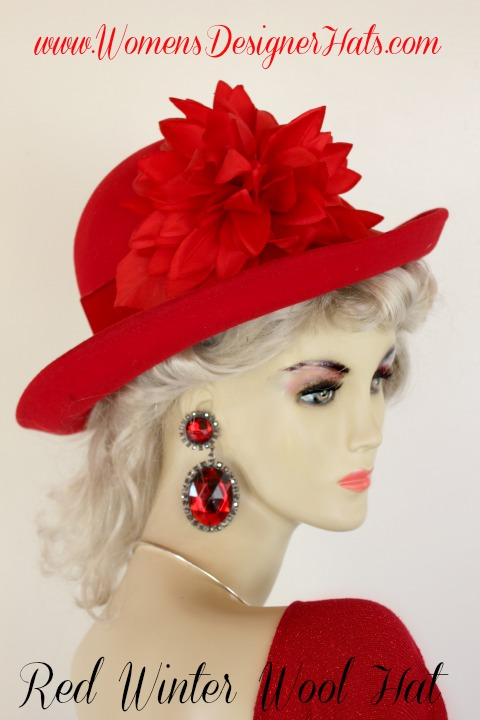 2ced3ef99e89e Red Winter Wool Designer Fashion Hat For Women. This Dress Hat Is Trimmed  With A Custom Made Red Petal Flower. Red Velvet Wraps Around The Crown Of  This ...