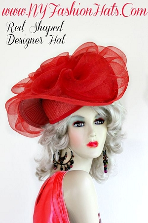 Red Dress Contemporary Stylish Designer Hat For Women Formal Hats