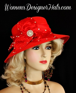 Ladies Red Ivory Royal Black Brown Designer Church Hat Fashion Hats KW9ZA