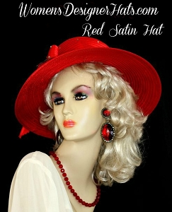 Hat Red Navy Royal Blue Hot Pink Black Satin Wide Brim Designer Hats