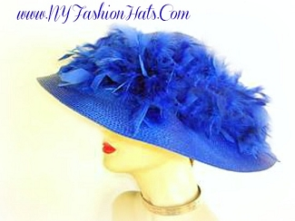 Royal Blue Designer Dress Hat With Feathers Hats NY Fashion Hats