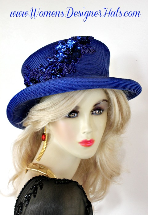 Royal Blue Dress Occasion Church Hat With Sequin Ladies