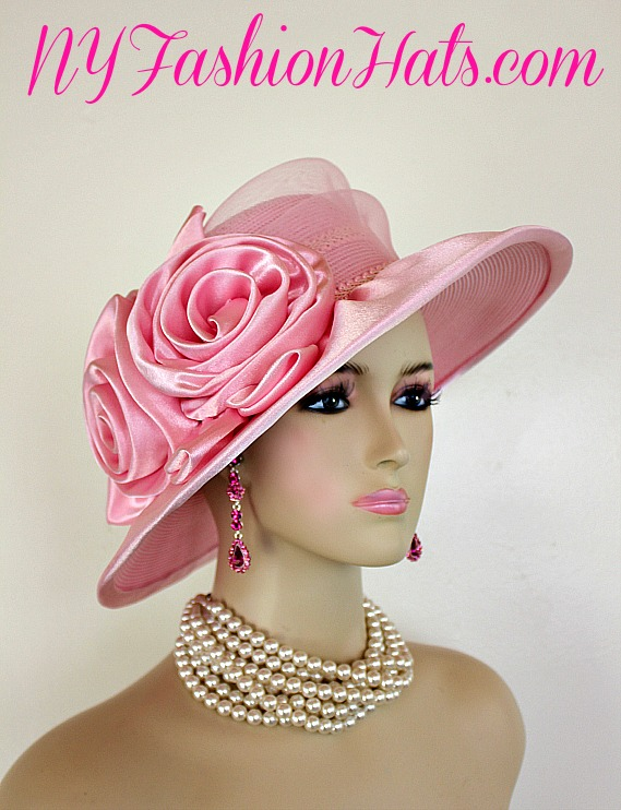 96c335c943a7c Pink Satin Designer Women s Special Occasion Fashion Hat Dressy Hats