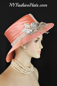 Peach Satin Metallic Silver Designer Kentucky Derby Church Hat, Custom Women's Wedding Bridal Hats K748